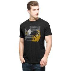 dbb448099 Men s Pittsburgh Steelers  47 Brand Black Hand Drawn Football Scrum T-Shirt