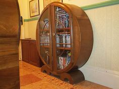 1930s ART DECO ROUND CHINA DISPLAY CABINET