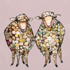 """2 Woolly Sheep"" by Eli Halpin Painting Print on Wrapped Canvas & Reviews 