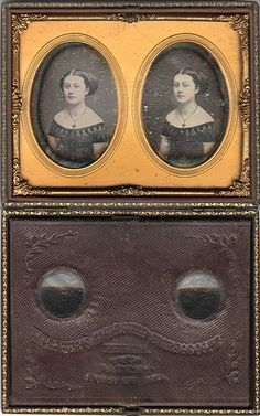 Stereo Daguerreotype. This Masher stereoscopic viewing case is shown with the lens board folded back to show the stamp of the photographer, Whitehurst of Baltimore.