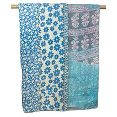 Kantha Quilted Recycled Sari Throw - Blue Daisy