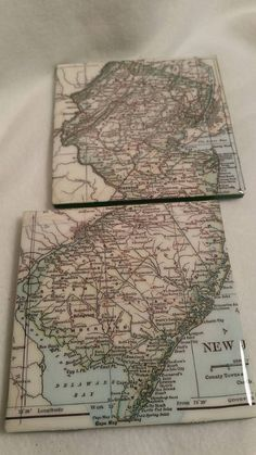 Check out this item in my Etsy shop https://www.etsy.com/listing/400345269/new-jersey-map-coaster-set
