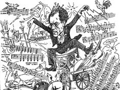 A caricature of Gustav Mahler conducting his Symphony No. 1 (circa 1898)