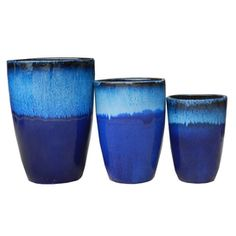 Shop 3-Pack 17-in x 24-in Blue Ceramic Round Planters at Lowes.com