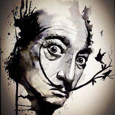 """Salvador Dali"" - Victor Octaviano {surreal artist portrait painting} <3"
