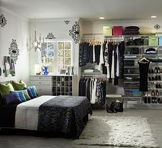 Closet-System Storage              Even if you don't have the luxury of a built-in closet you can have the functionality of one. With a well-planned closet system, you can dedicate a wall of your bedroom to a good-looking storage system that coordinates with your room decor and makes artwork of your wardrobe