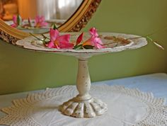 Cast Iron Footed Plate.  Vintage Cake Stand or Display Stand Painted Distressed White. Rustic Home or Garden Decoration. by AnythingDiscovered on Etsy