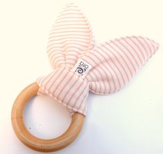 Organic teething ring with bunny earsnatural baby door oraconcepts