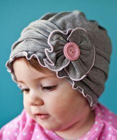 Loving this Heather Gray & Pink Button Flower Beanie on #zulily! #zulilyfinds