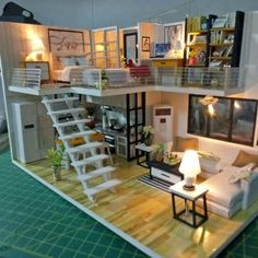 I must make one of these - Downsize Living - Doll House Miniature Rooms, Miniature Houses, Loft House, House Rooms, Casas The Sims 4, Appartement Design, Tiny House Design, House Layouts, Dream Rooms