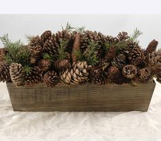 """Very easy to make-without the snow Wood 28"""" Box Filled with Natural Pine Cones $99 each / 3 for $80 each"""