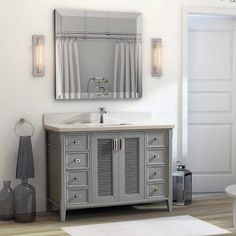 48 inch Gray Finish Cottage Bathroom Vanity Cabinet with Mirror