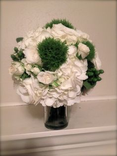 Bridesmaid Bouquet for a wedding with a green and white color scheme