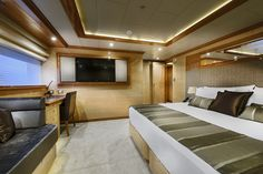 """A guest bedroom onboard the incredible private superyacht """"Zenith"""". Designed by ID Studios Pyrmont"""