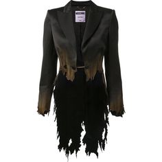 Moschino - burnt effect split tail blazer ($3,949) ❤ liked on Polyvore featuring outerwear, jackets, blazers, cropped blazer, rider jacket, cropped motorcycle jacket, biker jacket and peaked lapel blazer