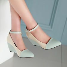 Shoes Women Wedges Ankle Strap High Heels Pointed Toe Buckle Ladies Usual Pumps #pumpheels