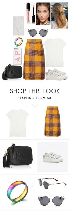 """out #193"" by tynabrookler ❤ liked on Polyvore featuring Valentino, Gucci, Veja, Christian Dior and The Giving Keys"