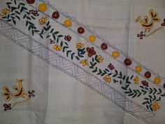 78x23 Cream Indian Tussar Silk Scarf Hand Painted with Kantha Work Long Scarf (J13805). $28.99, via Etsy.