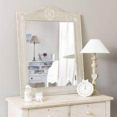 Miroir en bois de paulownia blanchi H 90 cm CAMILLE