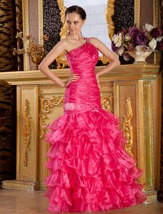 Fuchsia Mermaid Trumpet Satin Beading Tulle Prom Dress. If you are looking for a dress that shows off your curves beautifully, this one would be a great choice. It is made from a nice satin fabric and features a gathered, fitted texture throughout the bodice. It has a one should.. . See More Mermaid at http://www.ourgreatshop.com/Mermaid-C939.aspx