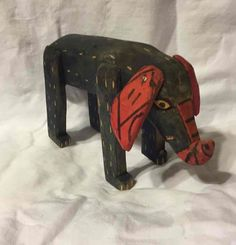 "Hand Carved Wooden Folk Primitive Art Animal Elephant Figure Figurine 4"" Tall"