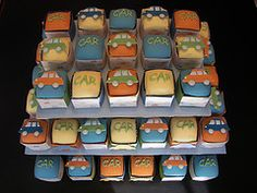 Square Cupcakes for a Car themed Baby Shower