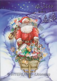 Interlitho, Michele, CHRISTMAS SANTA, SNOWMAN, paintings, santa, wheelbarrow(KL5149,#X#) Weihnachtsmänner, Schneemänner, Weihnachen, Papá Noel, muñecos de nieve, Navidad, illustrations, pinturas