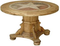 Round Rustic Dining Table With Star Inlay Real Wood Marble Cabin Lodge Rustic Pine Furniture, Marble Furniture, Log Furniture, Garden Furniture, Painted Furniture, Furniture Ideas, Marble Top Dining Table, Round Wood Dining Table, Wooden Tables