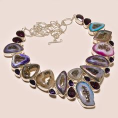 AMAZING WINDOW DRUZY WITH FACETED AMETHYST .925 SILVER NECKLACE #Handmade #Choker