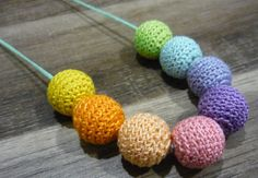 Pastel rainbow crochet wooden teething nursing necklace - chewable fun for Bub and funky attire for Mum. Great baby shower present! on Etsy, $15.00 AUD