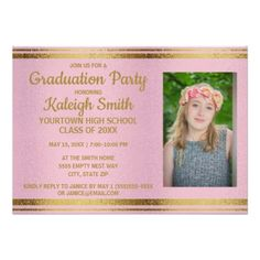 Young wild and free graduation announcement glittery pink gold graduation party photo invite filmwisefo Choice Image