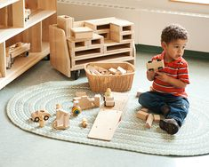 Mini Hollow blocks - provide a perfect bridge between unit blocks and large hollow blocks. Preschool Block Area, Block Play, Reggio Emilia, Design Projects, Homeschool, Nursery, Kids Rugs, Indoor, Interior