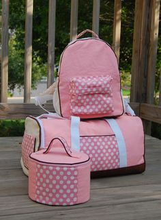 Backpack, Cosmetics pouch and duffle bag (no pattern but pretty much self explanatory)