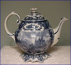 Full Size Victorian Romance Blue Transferware Teapot Fancy Fluted Base 15960 | eBay