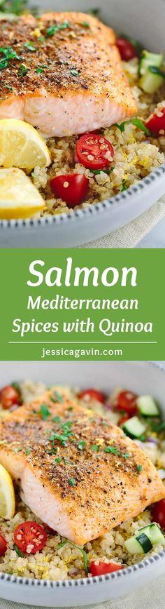 Mediterranean Spiced Salmon and Vegetable Quinoa - This healthy recipe is packed…