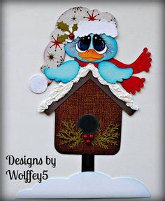 ELITE4U XMAS BIRD paper piecing premade scrapbook page album mat border WOLFFEY5