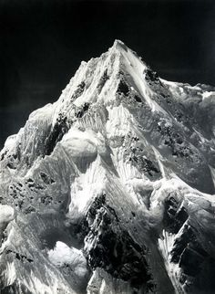 Vittorio Sella, Telephoto of the summit of Siniolchun as seen from the Zemu Glacier, Sikkim, Book Photography, Landscape Photography, White Photography, Ansel Adams, Dark Skies, Mountaineering, Adventure Is Out There, The Great Outdoors, Beautiful