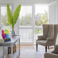 Love the wing back chairs Studio S, Wingback Chair, Shutters, Great Rooms, Accent Chairs, Wing Chairs, Wings, Console, Blue