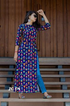 Fabric - reyon digital print Size - M L XL XXL 4 Attractive colour Churidar Designs, Kurti Neck Designs, Dress Neck Designs, Kurta Designs Women, Kurti Designs Party Wear, Designs For Dresses, Indian Designer Outfits, Designer Dresses, Stylish Dresses