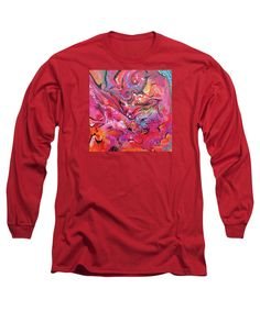 Fresh Hot Colors On Fire Abstract Expressionist Fun Contemporary Modern Movement Drama Dynamic Vibrant Colorful Rainbow Hues Black Accents. Long Sleeve T-Shirt featuring the painting Horse Feathers by Expressionistart studio Priscilla Batzell