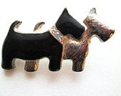 Vintage Terriers Brooch Enamel and Silver Tone Scotty Dogs Rhinestone Accents