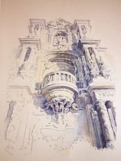 San Telmo Architecture. Stunning watercolor by Rubén Belloso Adorna.