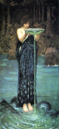 """Circe Invidiosa (Circe Poisoning the Sea)"" by John William Waterhouse, 1892"
