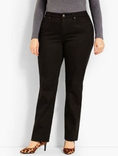 3680952eb6f Talbots  Womans Exclusive Luxe Stretch Denim Straight Leg   Black