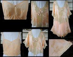 Antique Peach Silk 1920's Lingerie Set