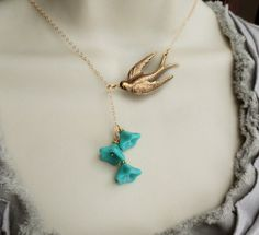 Lariat Necklace, Brass Sparrow Bird, Gold Chain, Teal Czech Glass Trumpet Flower