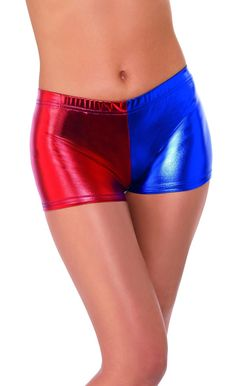 mens christmas costumes Red and Blue Fever Miss Jester Whiplash Shorts Women Adult Halloween Costume - Small Christmas Costumes, Halloween Costumes, Halloween Costume Accessories, Costume Collection, Cosplay, Adult Halloween, Large Women, Harley Quinn, Blue Shorts