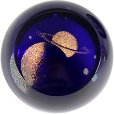 Glass Eye Studio Saturn Paperweight Cobalt Blue Art Glass  Signed by Catisfaction's Glass Gallery a Ruby Lane Shop