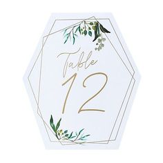 Geometric Greenery Table Numbers - Wedding Table Decorations (Pack of Wedding table numbers Measure wide x high Pack of 12 Tulle Decorations, Wedding Table Decorations, Table Centerpieces, Gold Table Numbers, Wedding Table Numbers, White Chair Covers, Table Number Holders, Wedding Bubbles, Pink Hydrangea