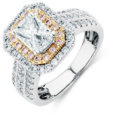 Engagement Ring with 1.80 Carat TW of Diamonds in 14ct White & Rose Gold